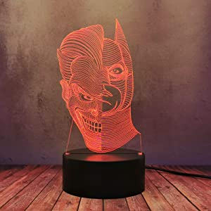 The Dark Knight Rises DC Comic LED Desk Lamp Superhero Batman Villain Joker Mask 3D Night Light Illusion Home Bedroom Modern Colorful Table Lamp Teen Boy Birthday Party Atmosphere Decor Gift Flash