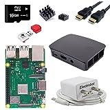 Electrobot Raspberry Pi 3 B+ (B Plus) Starter Kit (16GB, Black Official Case)