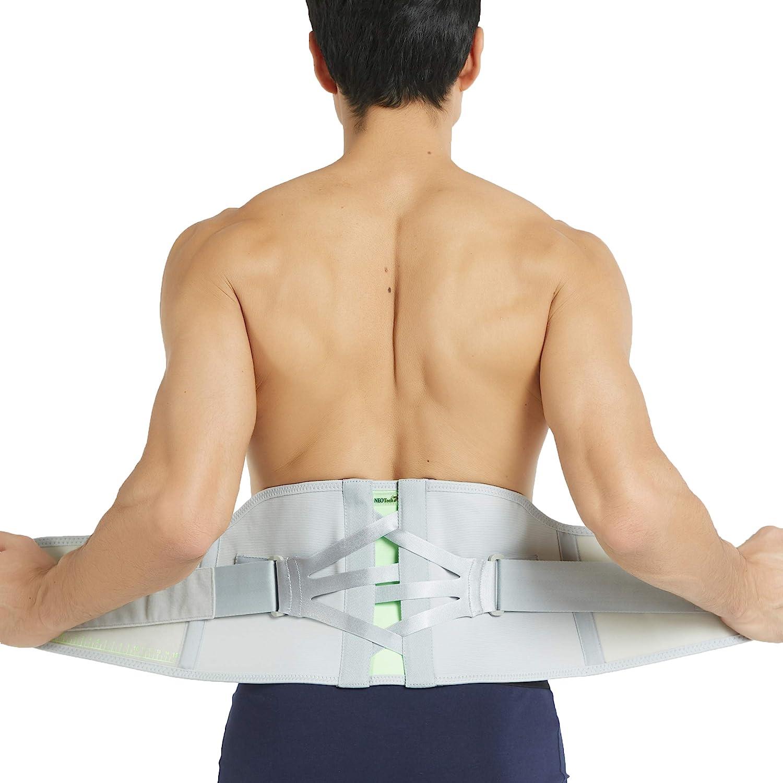Ceinture lombaire de marque Neotech Care - Tissu respirant, soutien réglable pour douleur au bas du dos - Sangles compression à double poulie - Grise (Taille M)