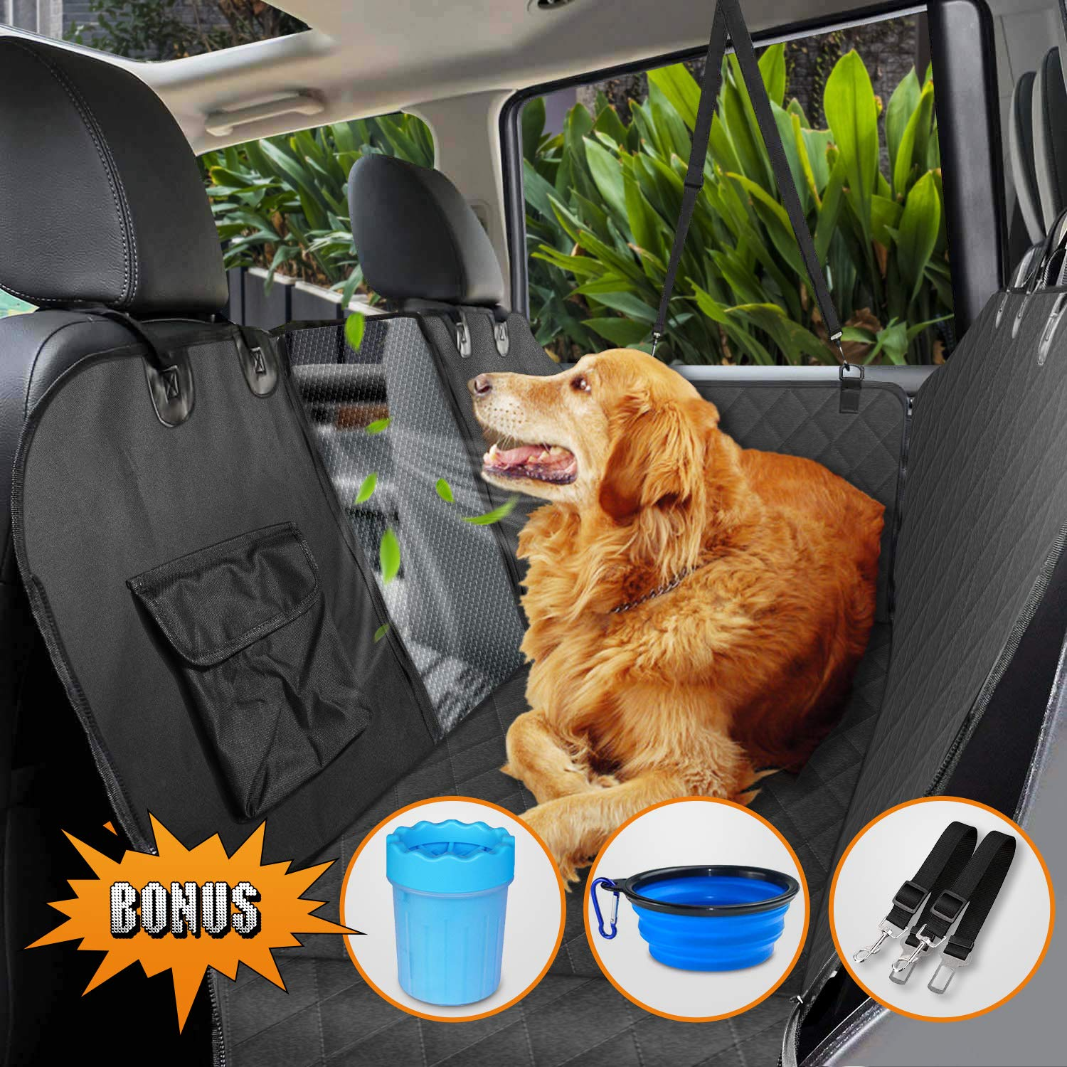 Dog Seat Cover for Back Seat, Upgraded 100% Waterproof Dog Car Seat Covers with Mesh Window, Scratch Proof Nonslip Dog Car Hammock, Car Seat Covers for Dogs, Dog Backseat Cover for Cars Trucks SUV