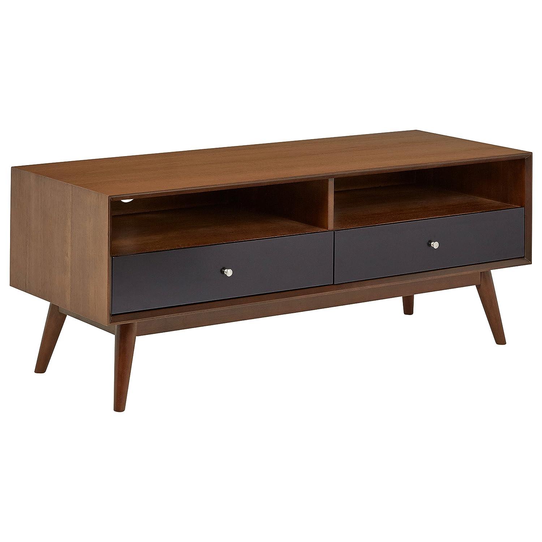 "Rivet Mid-Century Modern Wood Media TV Console Coffee Table, 47""D, Walnut & Black"