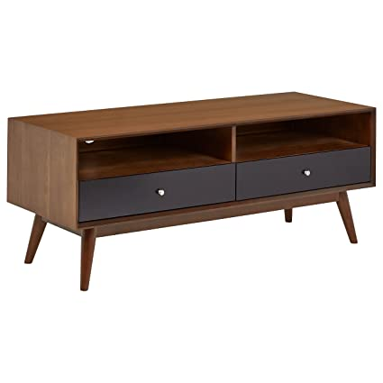 "Rivet Mid Century Modern Wood Media Tv Console Coffee Table, 47""D, Walnut & Black by Rivet"