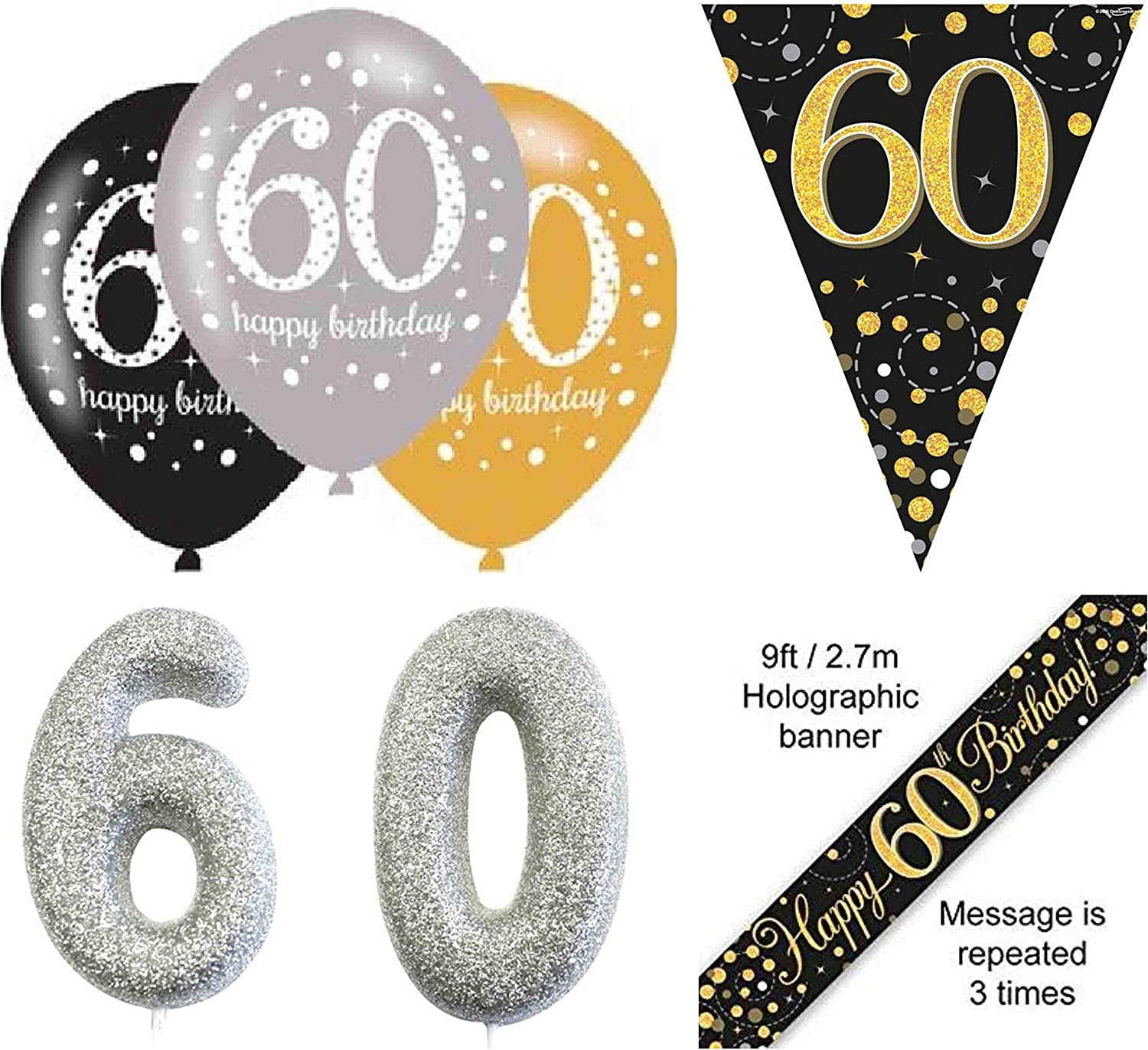 60TH BIRTHDAY BUNTING SIXTY PARTY BANNER BLACK AND SILVER