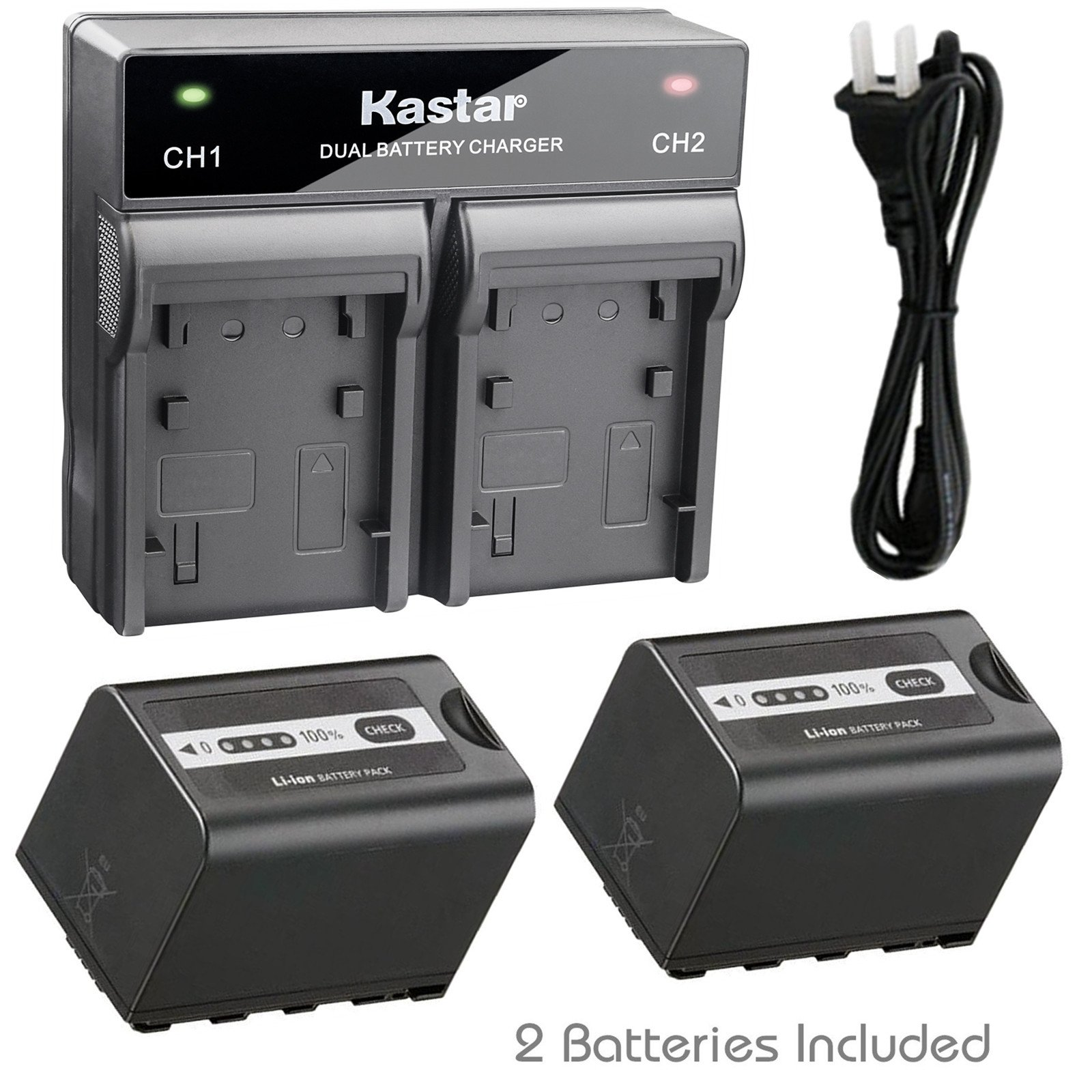 Kastar 2X Battery + Fast Dual Charger for Panasonic VW-VBD58 VW-VBD29 and AJ-PX270 AJ-PX270PJ AJ-PX298 (PX298MC) AJ-UX180 AJ-UX90 HC-MDH2 (MDH2GK, MDH2M) HC-X1000 HC-X1 HDC-Z10000 (Z10000GK, Z10000P) by Kastar
