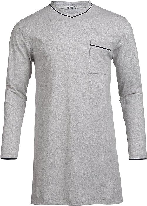 509b4bf0d160e1 Modisches Nachthemd Herren Langarm Schlafanzugoberteil Schlafshirt Baumwolle