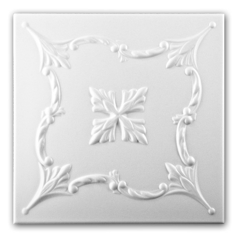 Azulejos de techo de espuma de poliestireno 0872 (paquete de 88 pc / 22 metros cuadrados) Blanco VTM