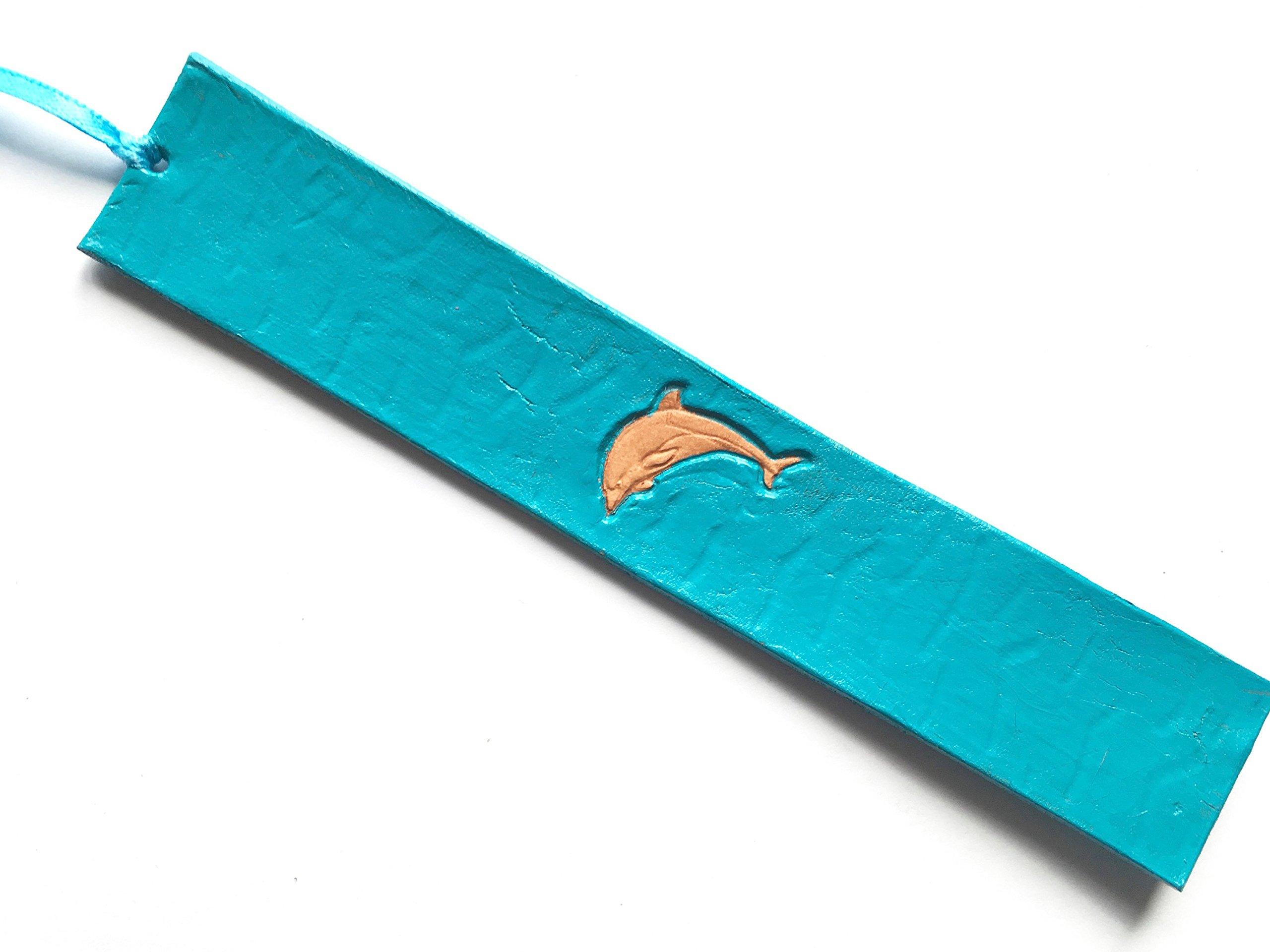 Handmade Leather Bookmark | Turquoise Sea Dolphin