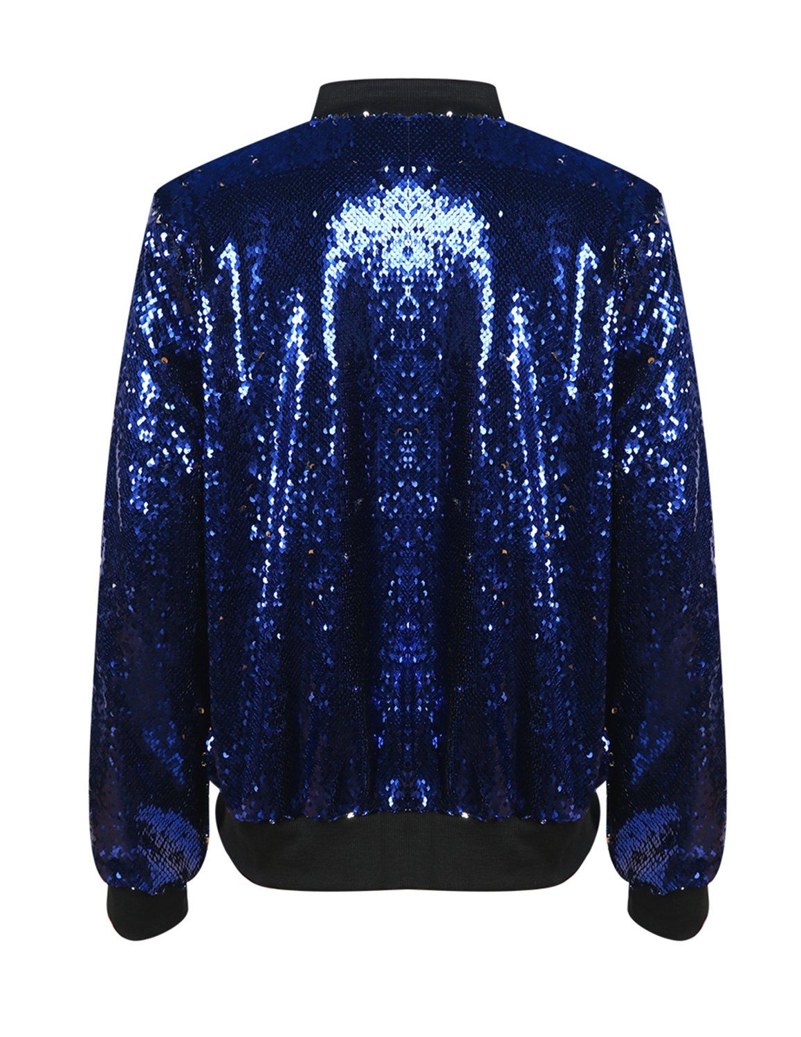 HaoDuoYi Womens Casual Lightweight Sequin Zipper Bomber Jacket (Large, Blue) by HaoDuoYi (Image #2)