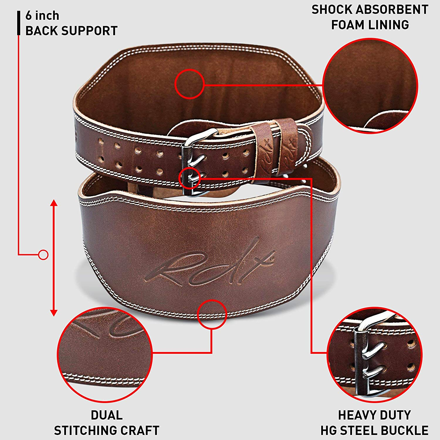 RDX Weight Lifting Belt 6 Cow Hide Leather Double Prong Back Support Gym Exercise Bodybuilding Training Workout