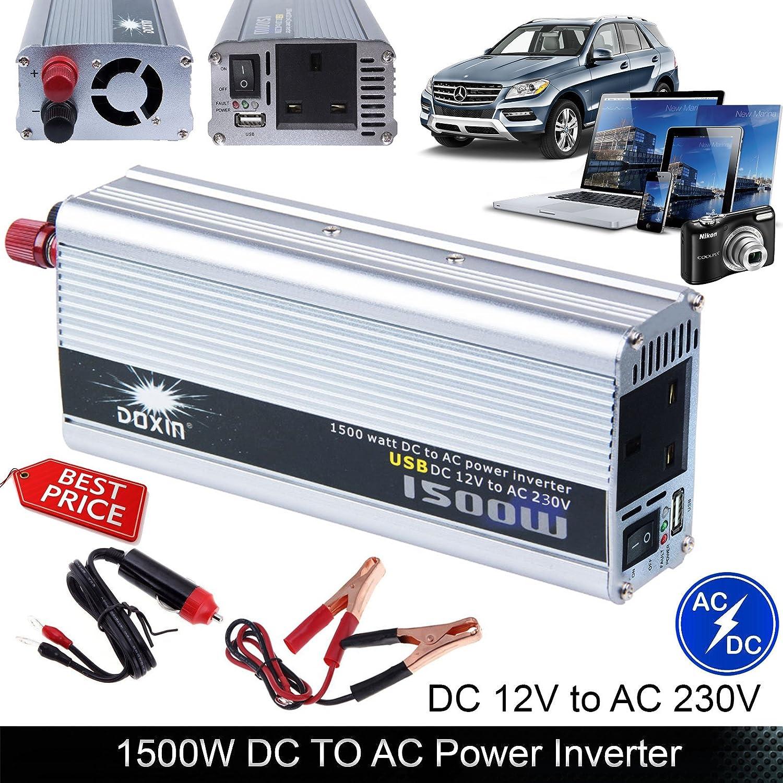 Auto Power Inverter 1500W DC 12V to AC 230V Modified: Amazon.co.uk ...
