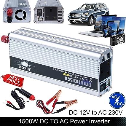 Auto inversor de corriente 1500 W (3000 W pico) DC 12 V a AC