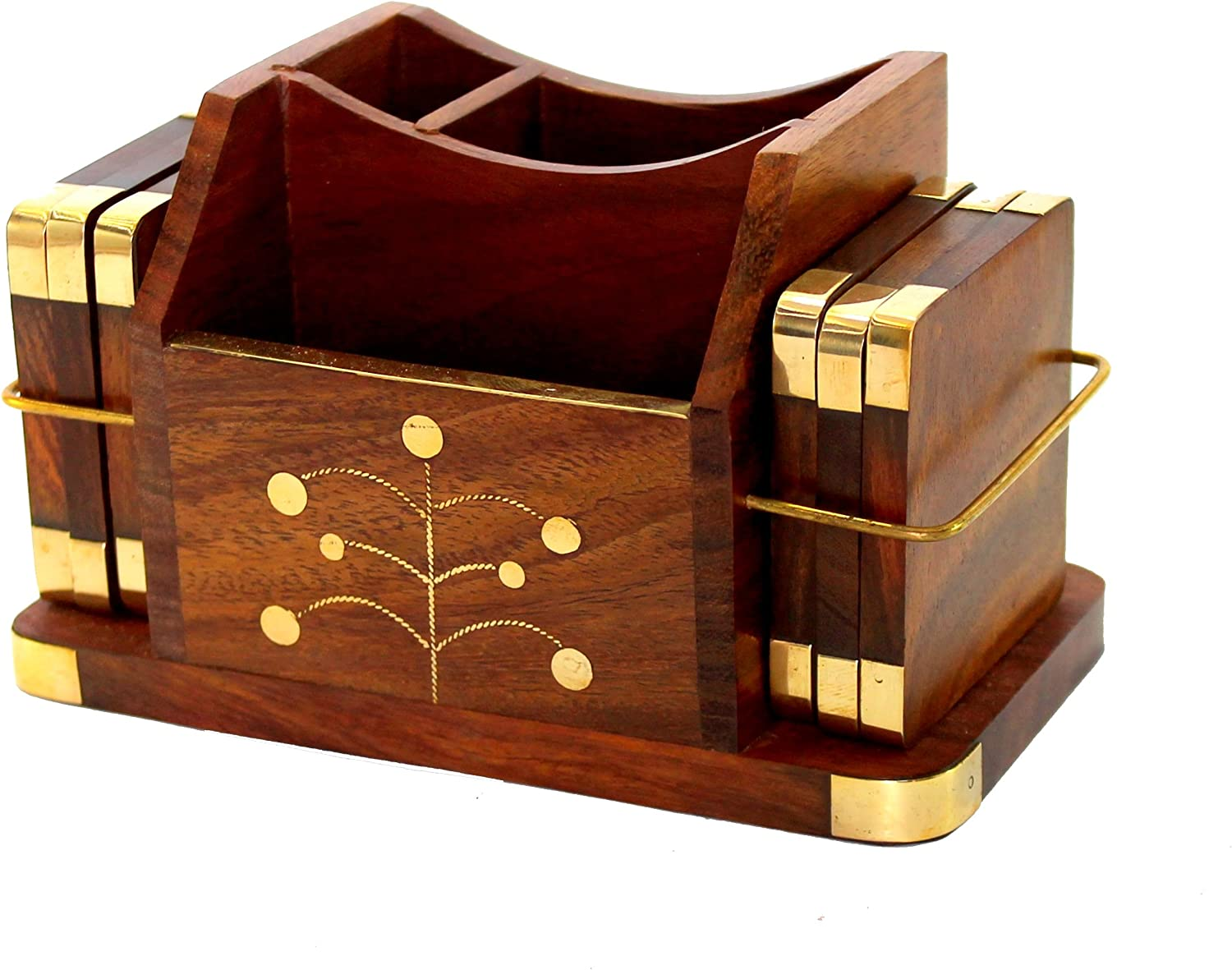 Stonkraft Wooden Rosewood Desk Organiser, Coaster/Coasters Set, Pen Stand, Business Card Holder with Brass Work (Office Table Accessories)