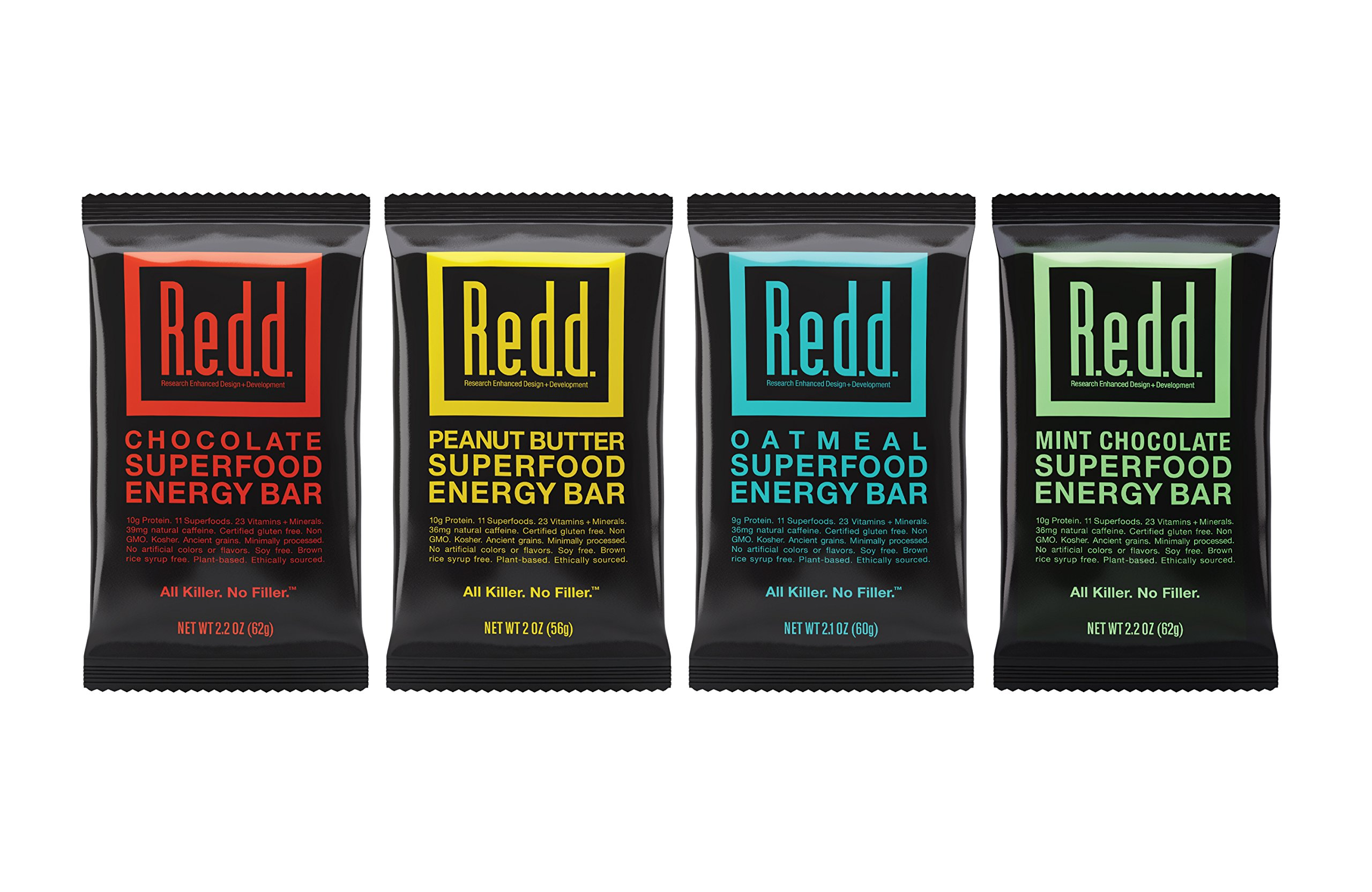 Redd Gluten Free Vegan Superfood Energy Bar Variety Pack, 8 Bars