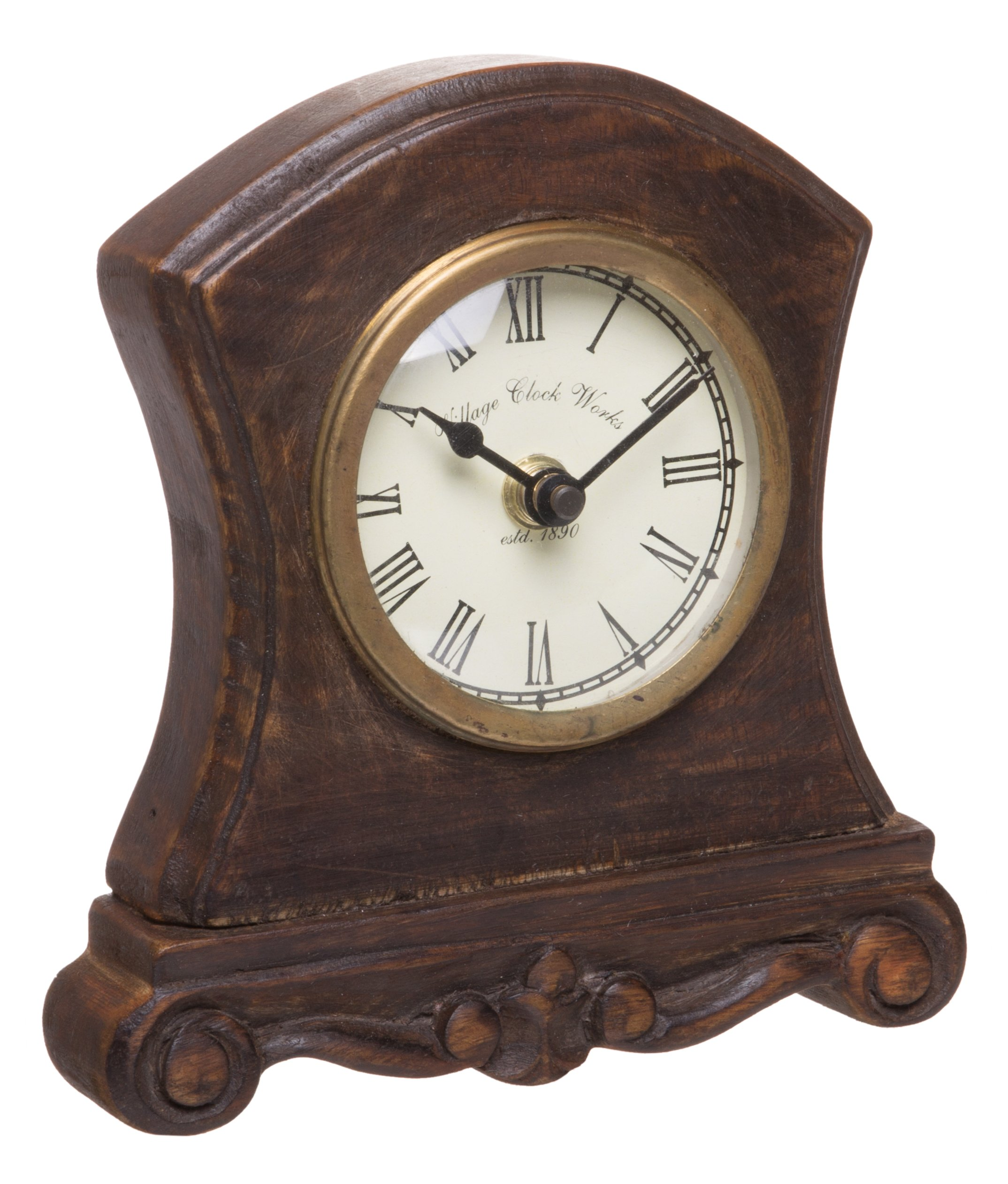 Red Co. Antique Inspired Wooden Table Top Analog Clock, Mantelpiece, Small, 6-inch by Red Co. (Image #1)