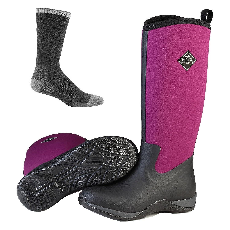 Muck Boot Women's Arctic Adventure Tall Snow Boot B074KR4GSS 7 B(M) US|Black/Phlox Purple W/ Socks