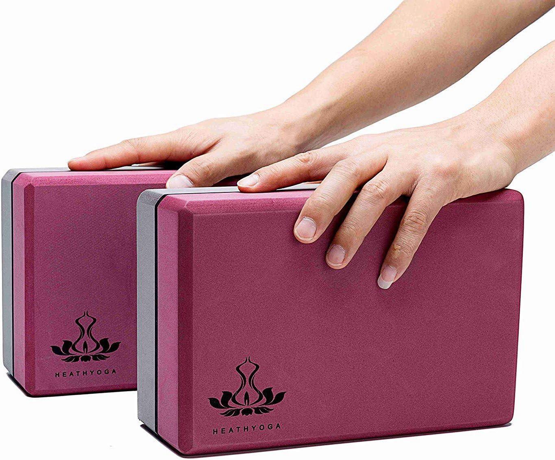 Heathyoga Lot de 2 blocs de yoga et sangles de yoga en mousse EVA haute densit/é pour soutenir et am/éliorer les postures et la flexibilit/é