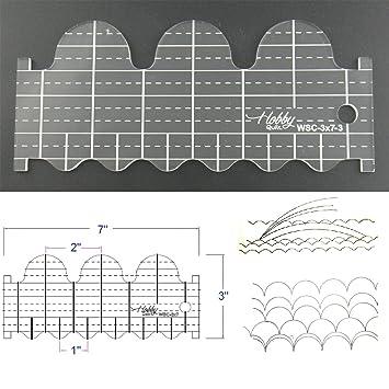 3 mm de acrílico de punto de sueño Patchwork Quilting plantilla regla Wave o de concha