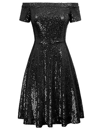 0348628881f GRACE KARIN Women s Sequin Bridesmaid Dress Short Sleeve Off Shoulder  Pleated A-Line Evening Dress