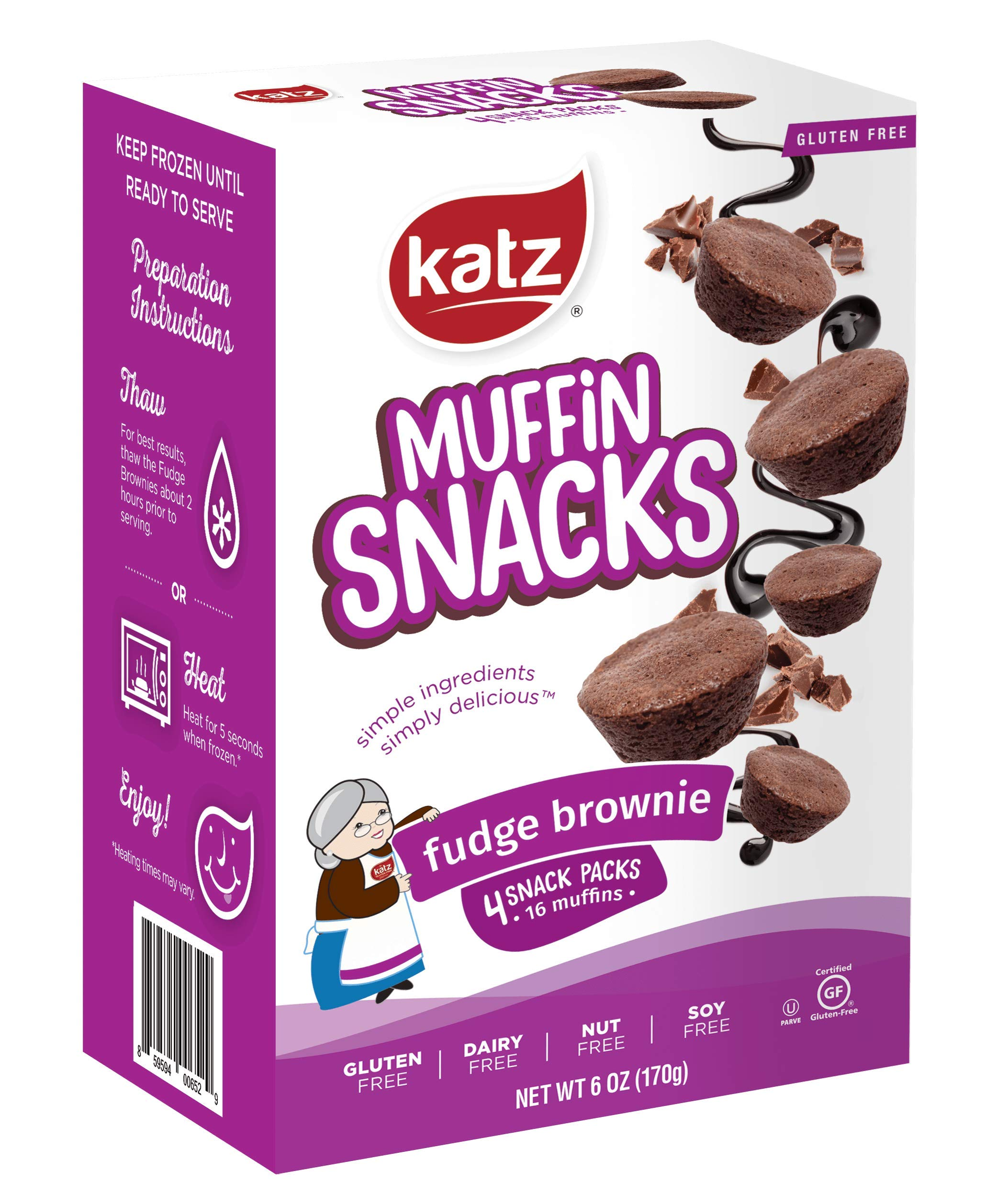 Katz Gluten Free Fudge Brownie Muffin Snacks | Dairy, Nut, Soy and Gluten Free | Kosher (6 Packs, 6 Ounce Each) by Katz Gluten Free