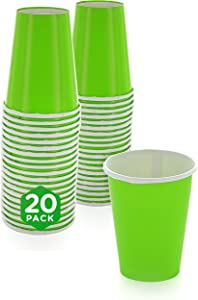 SparkSettings Disposable Paper Cups Drinking Paper Cup for Both Hot and Cold Beverages Perfect for Coffee, Tea, Water or Juice - Kiwi, Pack of 20