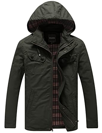 Amazon.com: WantDo Men's Cotton Lightweight Jacket With Removable ...