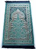 お祈りマット トルコ製 ムスリム礼拝用マット 礼拝用敷物(B) (緑)