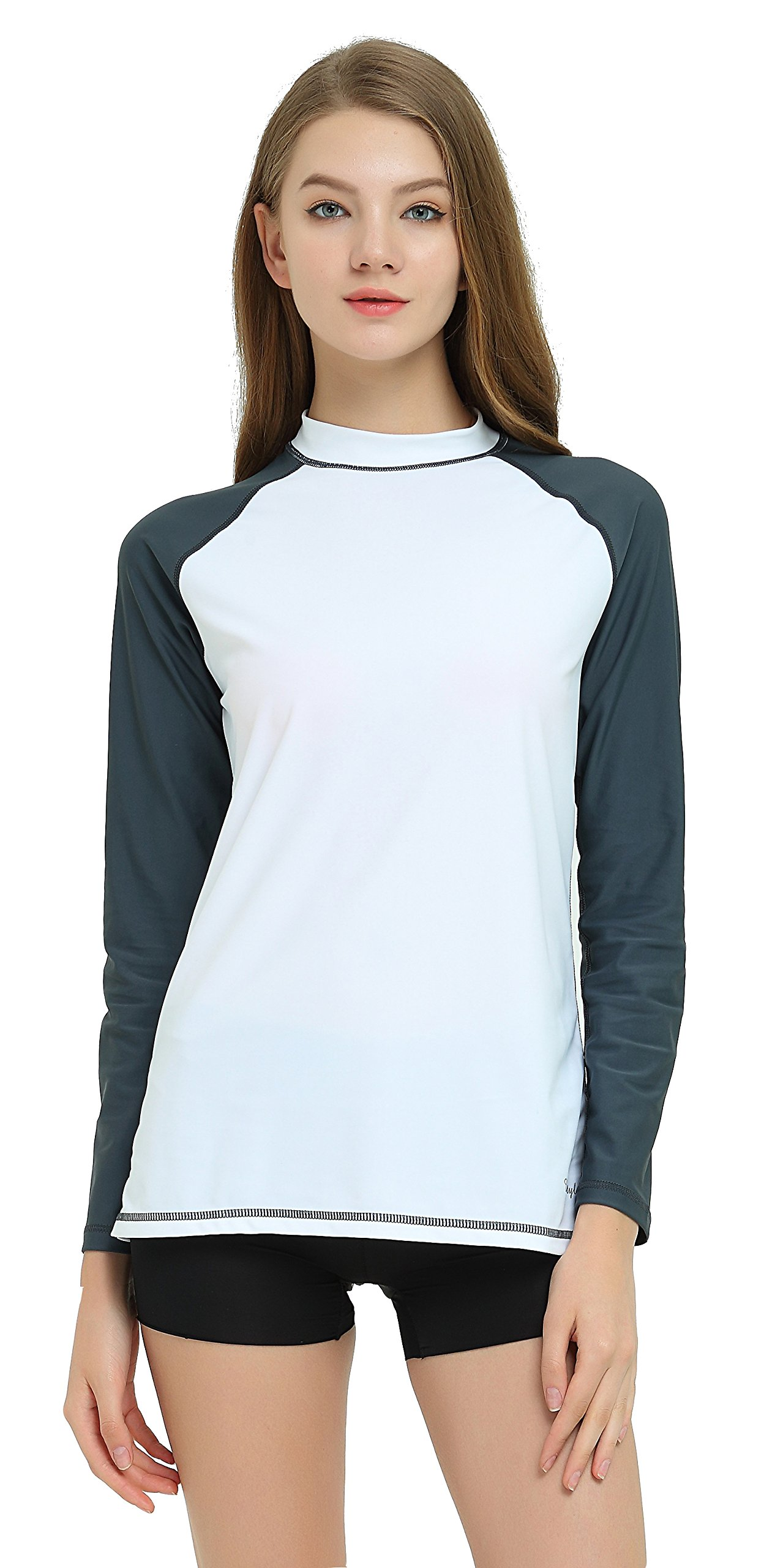 Ubestyle Women's UPF 50+ Long Sleeve Rashguard Swimwear Rash Guard Athletic Tops (White-Gray, L)
