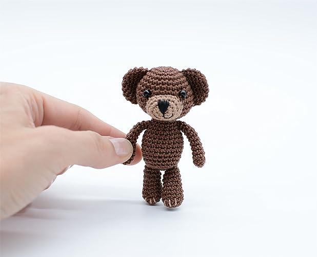 Peluche relleno, mini oso, algodón marrón crochet, juguete de ...