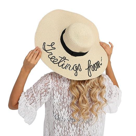 18709afa9ff iiniim Women Grils Beach Sun Hat Floppy Summer Cap Straw Foldable Wide Brim  Hat Beige One