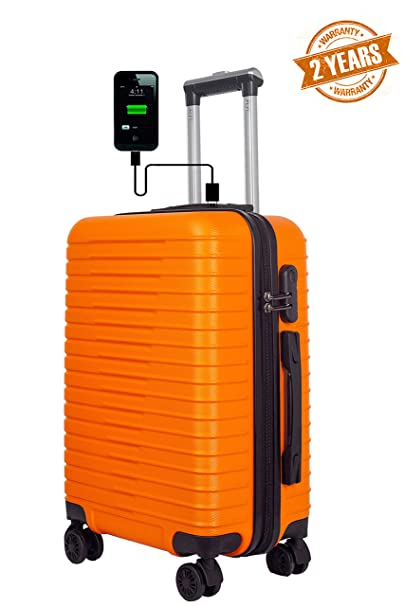 3G Atlantis Smart Series ABS 4 Wheel Hard Sided Orange 20 Inch Cabin Unisex Trolley Travel Bag