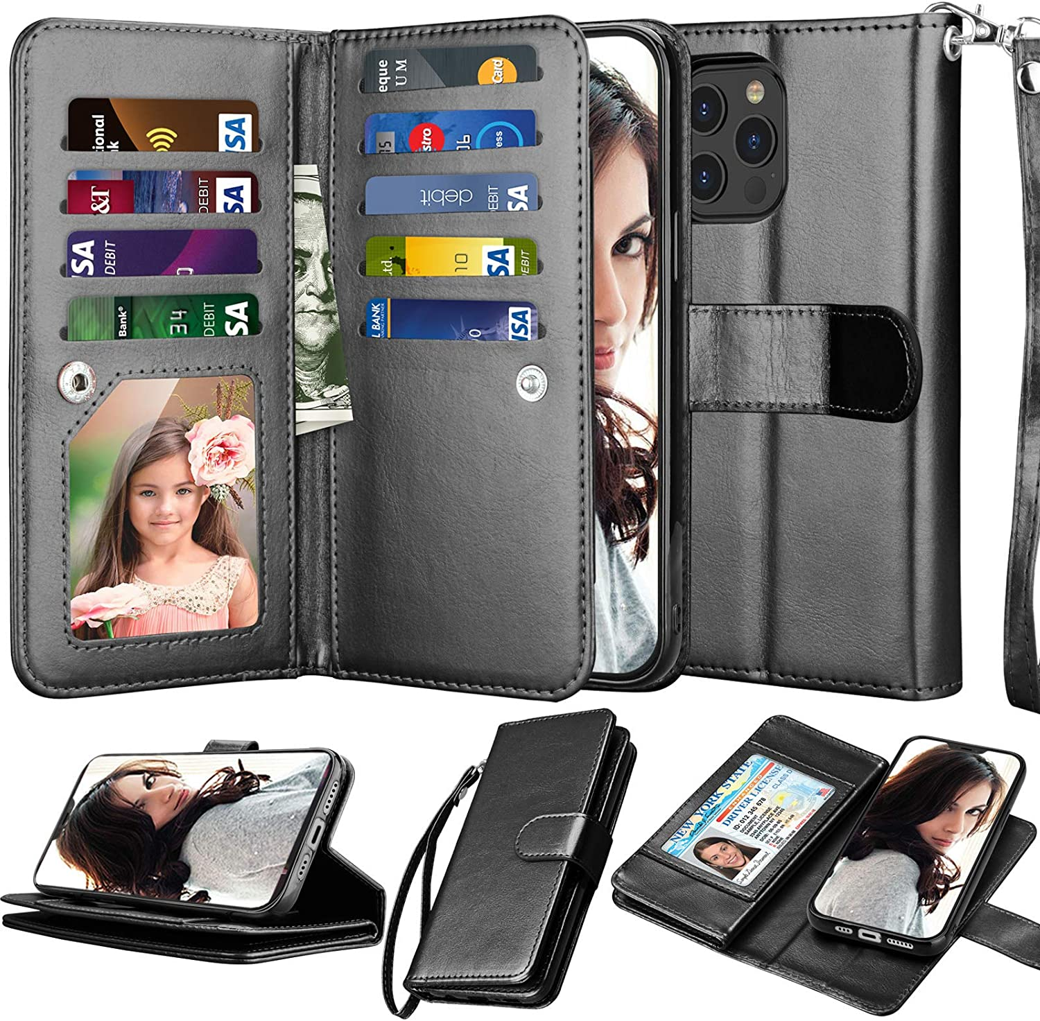 Njjex Compatible with iPhone 12 Pro Max Case/iPhone 12 Pro Max Wallet Case 6.7