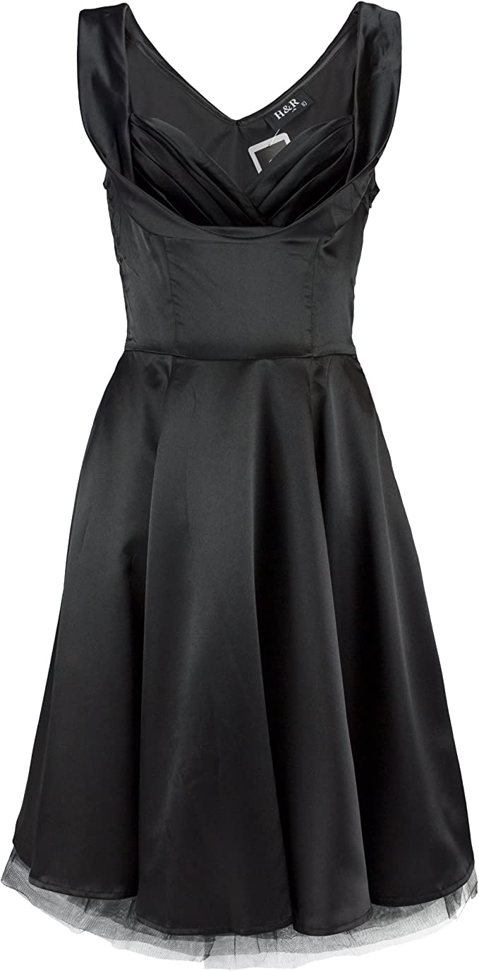 H&R London Kleid Satin Plain Black