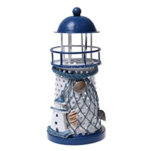 Beautyflier Metal Handmade Craft Lighthouse Color Changing LED Night Light Lamp