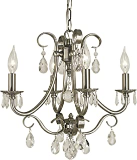 "product image for Framburg 2994 BN 4-Light Liebestraum Mini Chandelier, 52.5"" x 17"" x 16.5"", Brushed Nickel"