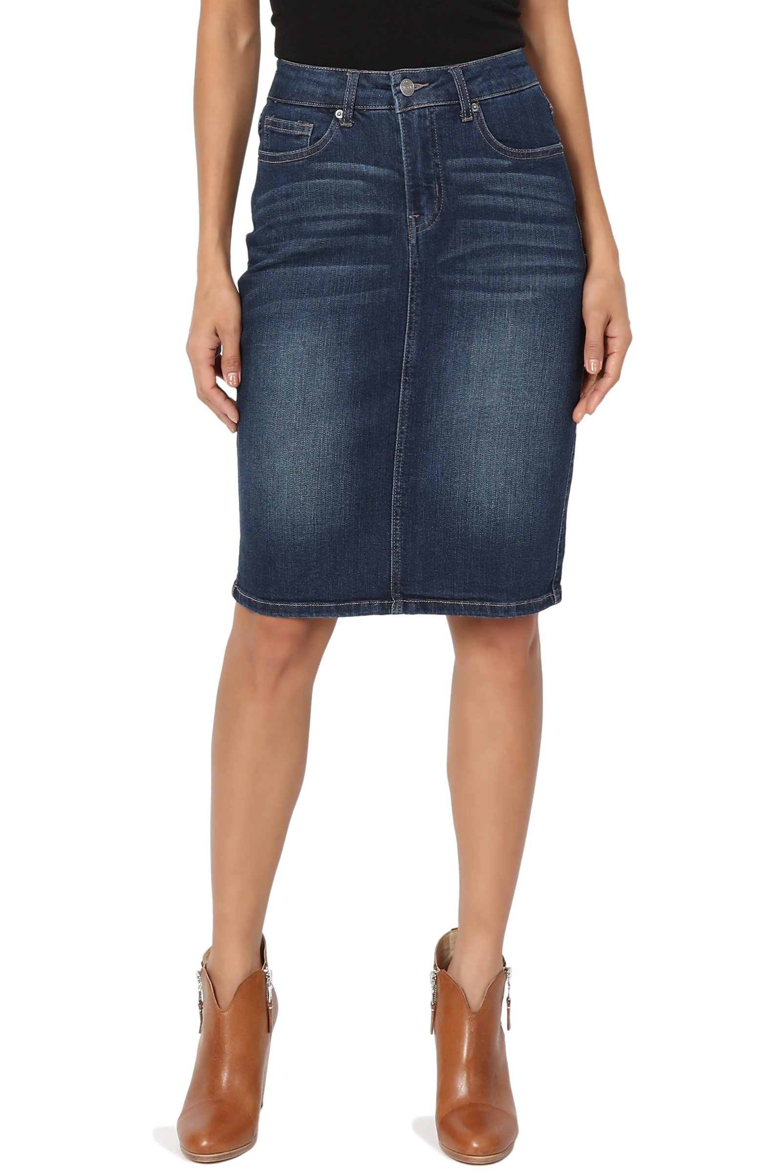 TheMogan Women's Vintage Washed Blue Jean Pencil Midi Soft Denim Skirt Dark S