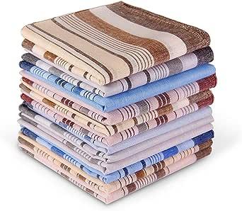 Men's Cotton Handkerchiefs, Ohuhu 100% Pure Cotton Pocket Square Hankies/Pocket Handkerchiefs For Men, Great Father's Day Birthday