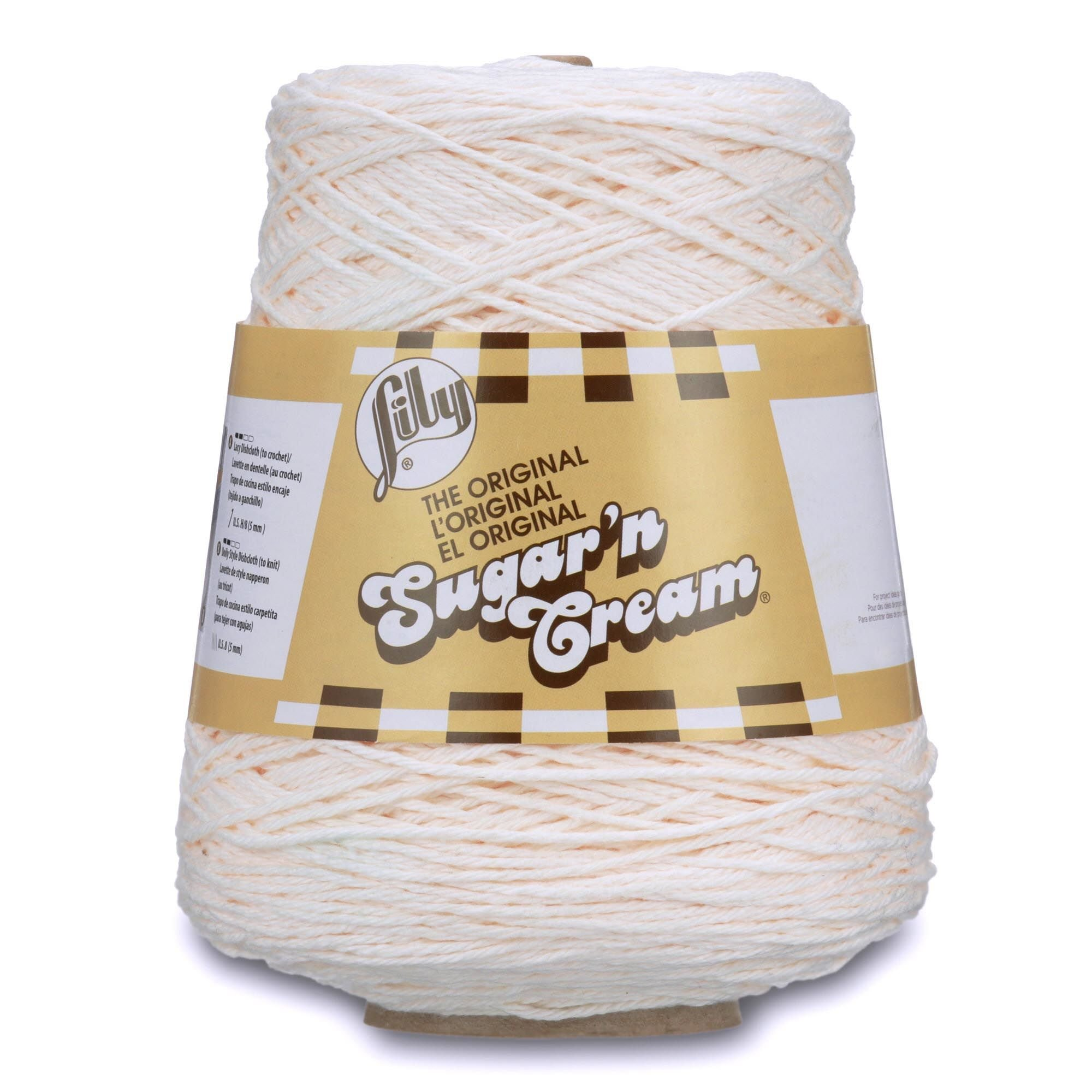Lily Sugar'n Cream Cotton Cone Yarn, 14 oz, Soft Ecru, 1 Cone