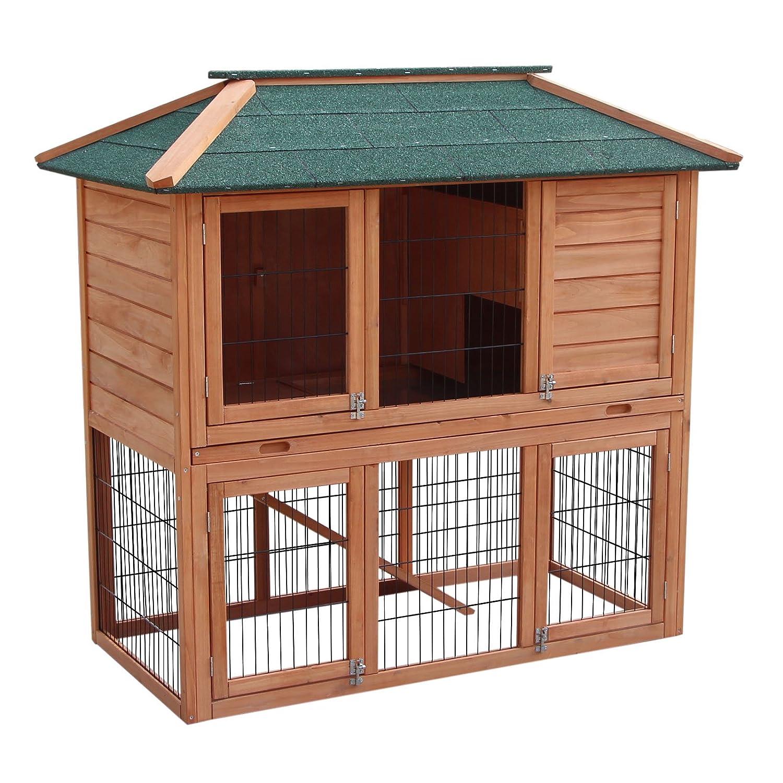 Hasenstall Kaninchenstall Freilaufgehege im Untergeschoss Fichtenholz Teerdach Kleintierstall