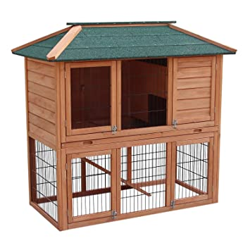 WilTec Conejera caseta conejos recinto descubierto en planta baja madera abeto tejado tela asfáltica: Amazon.es: Productos para mascotas