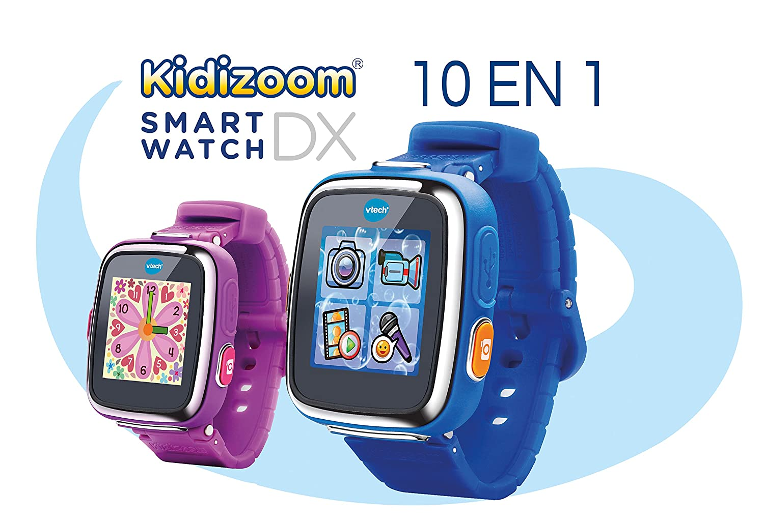VTech - Kidizoom Reloj Interactivo Connect DX, Color Azul, versión Francesa