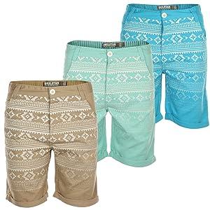 Soul Star Mens Aztec Print Chino Shorts