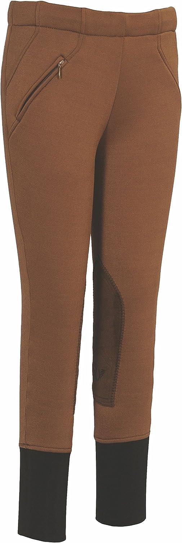 TuffRider Childrens Unifleece Pull-On Stretch Fleece Knee Patch Winter Breeches
