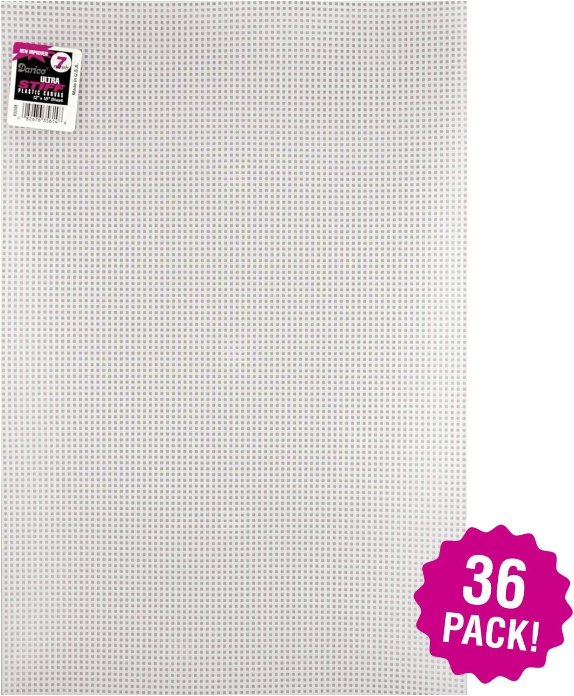 Multipack of 36 Pack Darice 96831 Ultra Stiff Plastic Canvas 7 Count 12X18-Clear