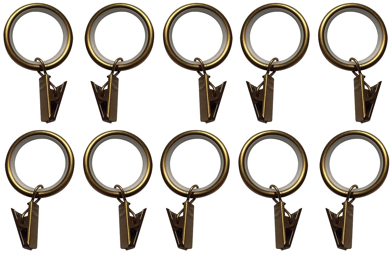 Silencioso Anillas con Clip para Cortina /Ø25-10 piezas Blanco
