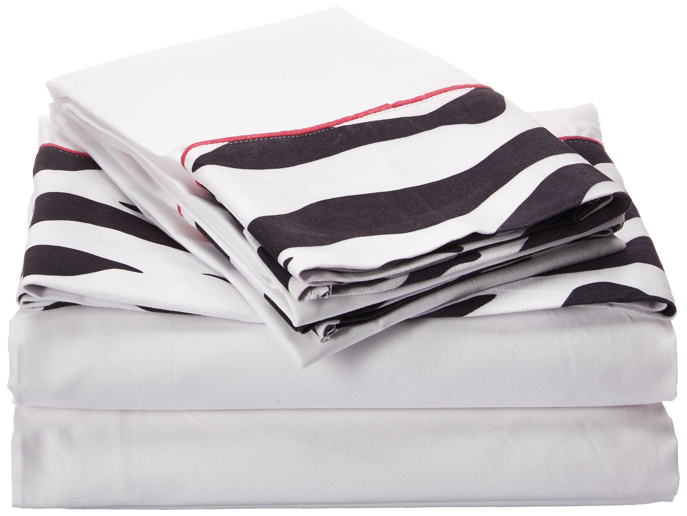 Sweet Jojo Designs 4-Piece Queen Sheet Set for Funky Zebra Bedding Collection
