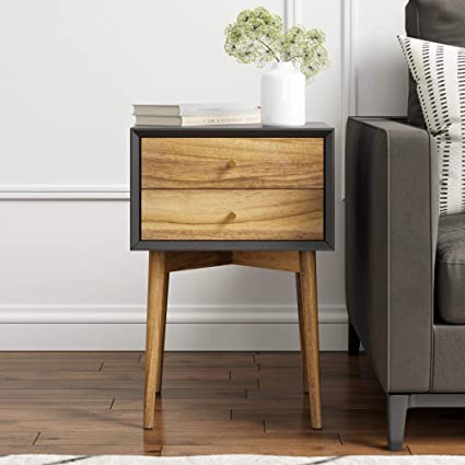efe4510ad Amazon.com: Nathan James 32703 Harper Mid-Century Side Table, 2-Drawer  Nightstand, Black/Brown: Kitchen & Dining