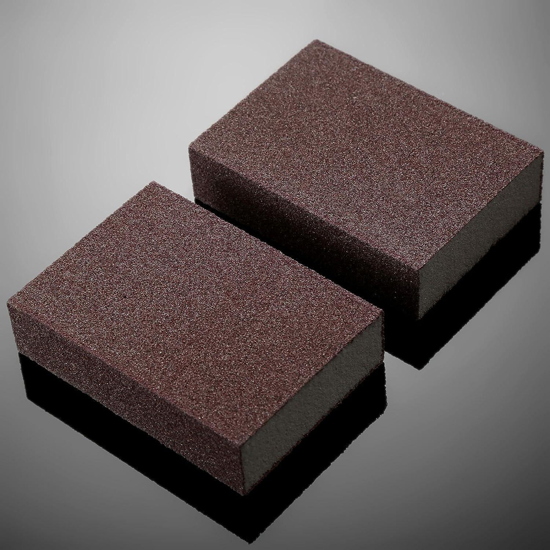 2Pcs Reusable Foam Sanding Block 60//80//120 Grit Wet Dry Sandpaper Sponge Pads