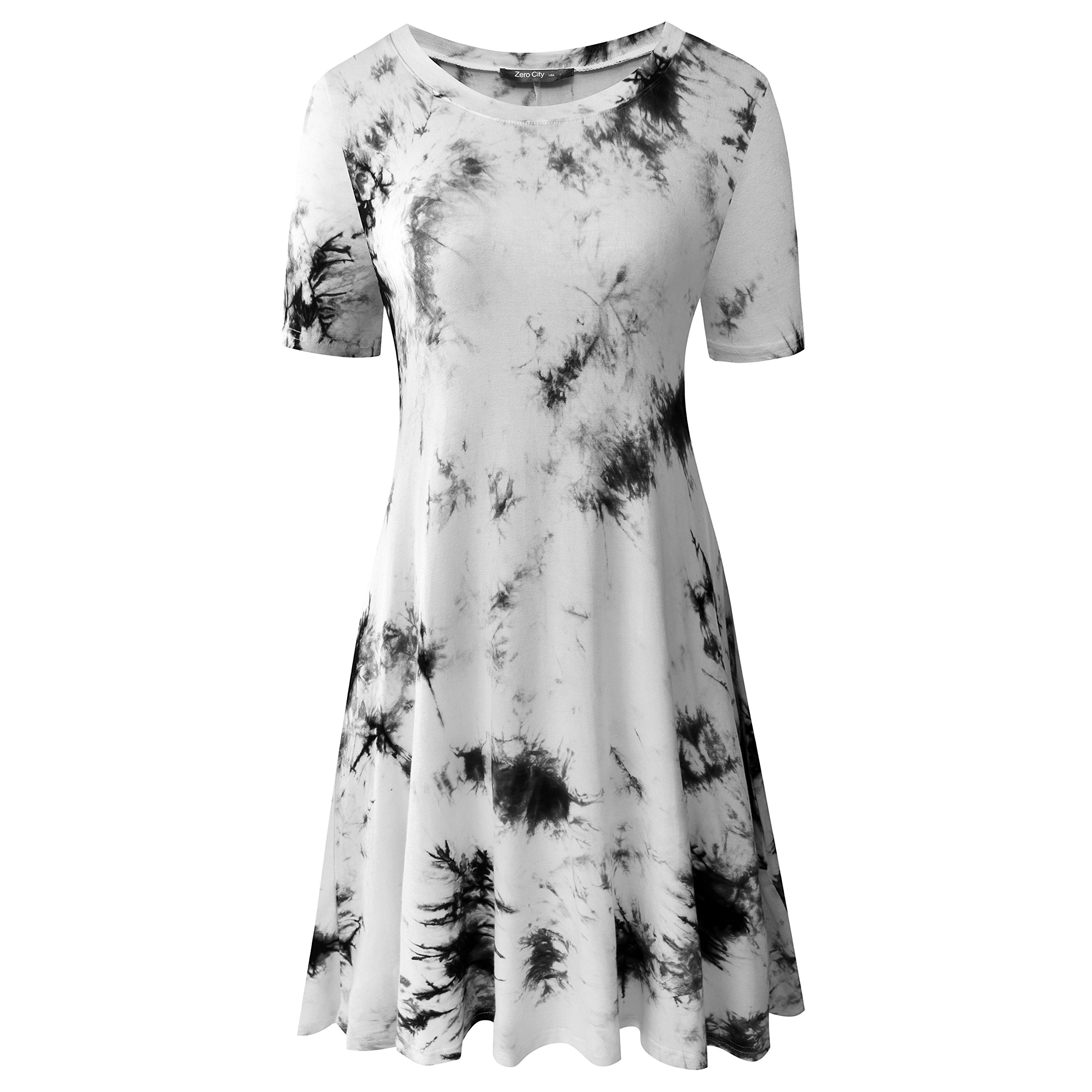 Zero City Women's Short Sleeve Casual Tie Dye Cotton Swing Tunic T-shirt Dresses X-Large Ze2010_black