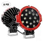 Barra de luz LED Nilight, 2 piezas, 17,78 cm, 51 W, 5100 lm, foco redondo rojo, parachoques de techo para Jeep, SUV...