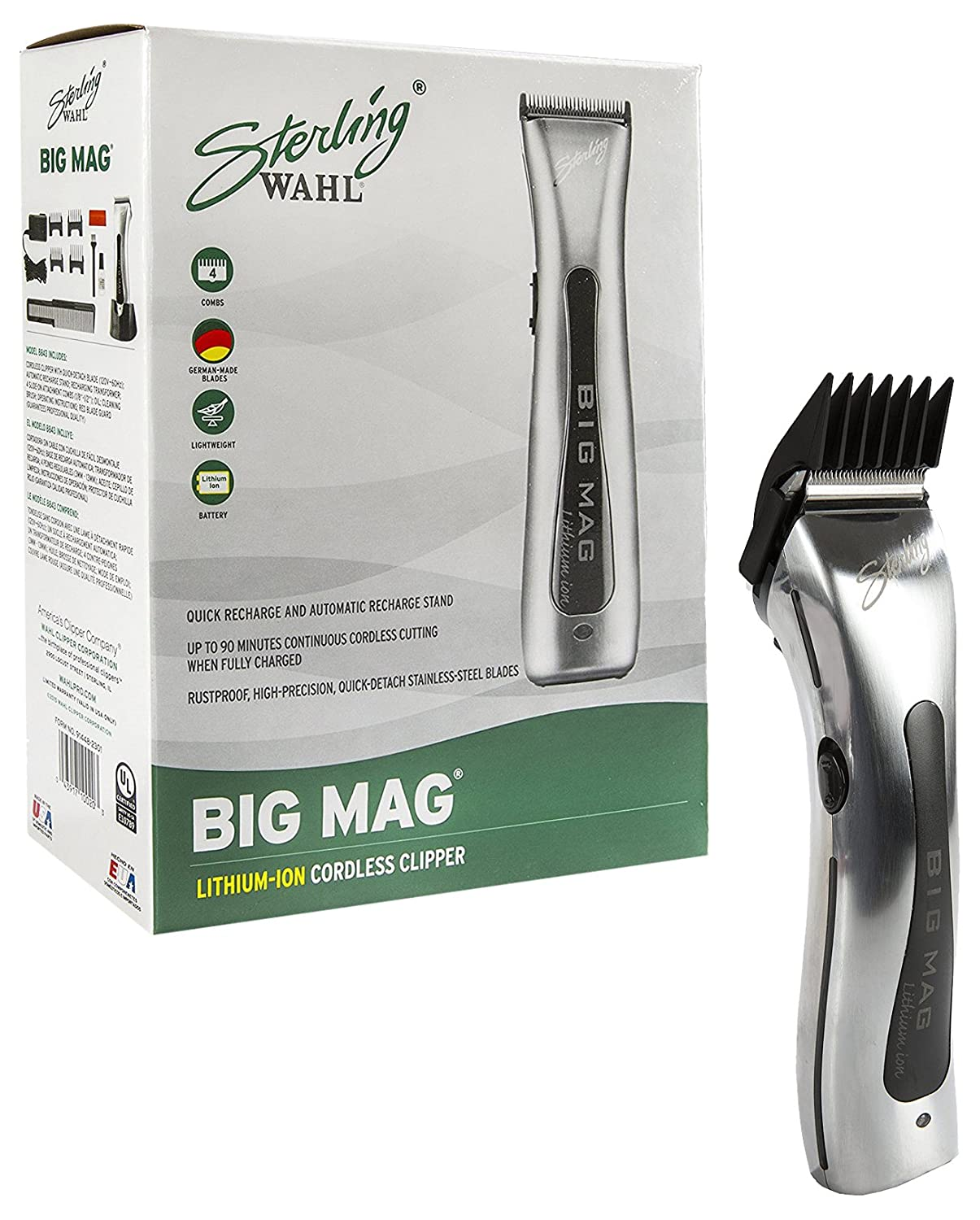 Wahl Professional Sterling Big Mag Clipper 8843 Great for Professional Stylists and Barbers Rotary Motor Silver